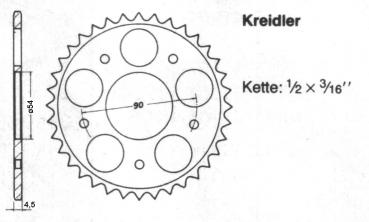 Chain wheel KREIDLER 38 teeth