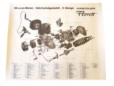 Exploded view KREIDLER 5-speed engine